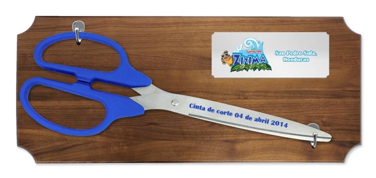 "25"" Ceremonial Ribbon Cutting Scissors Walnut Plaque"