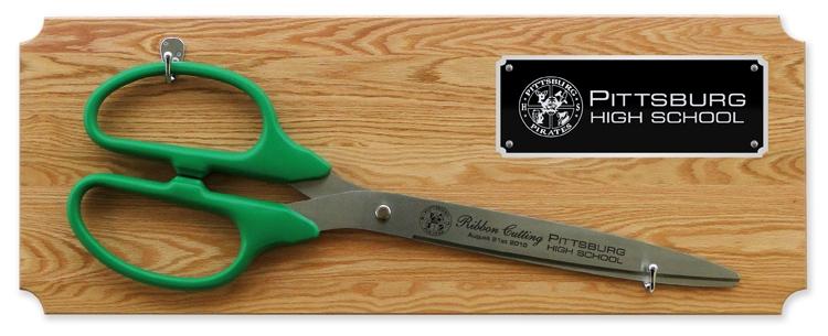 "36"" Ceremonial Ribbon Cutting Scissors Oak Plaque"