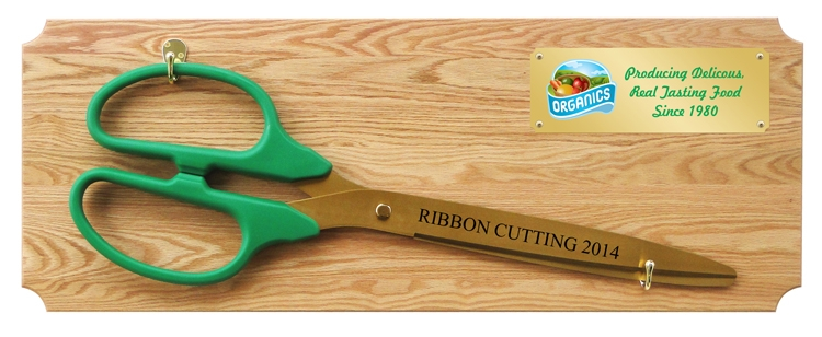 "36"" Ceremonial Ribbon Cutting Scissors Oak Plaque - Full Color Plate"