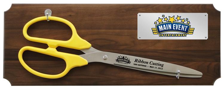"36"" Ceremonial Ribbon Cutting Scissors Walnut Plaque - Full Color Plate"