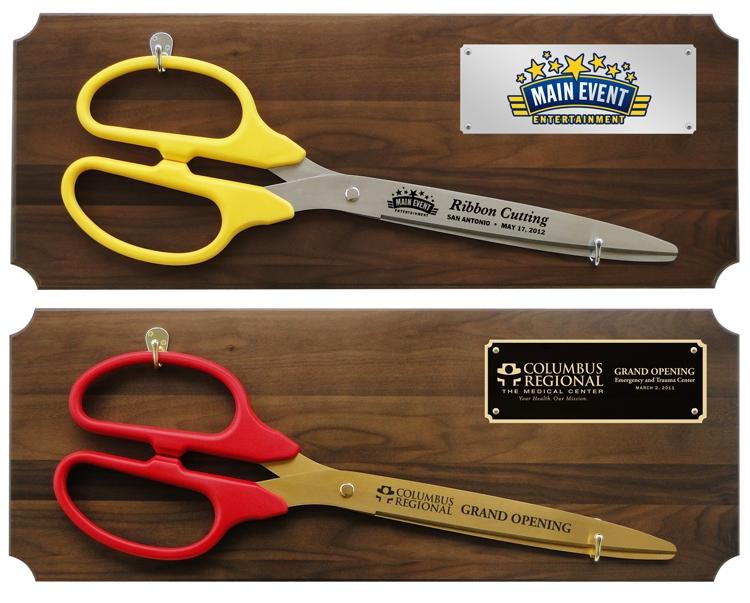 "36"" Ceremonial Ribbon Cutting Scissors Walnut Plaque"