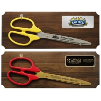 "36"" Ceremonial Ribbon Cutting Scissors Walnut Plaque"