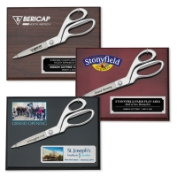 "9-1/2"" Chrome Ceremonial Scissors Piano Finish Plaques"