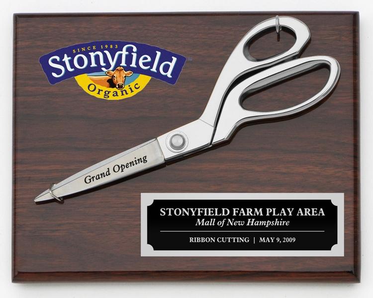 """9-1/2"""" Chrome Ceremonial Scissors Piano Finish Plaque"""