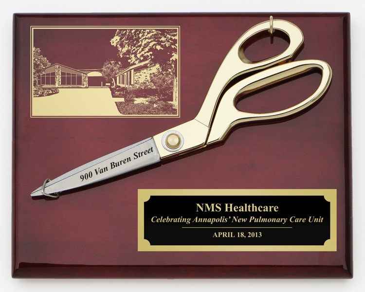 "9 1/2"" Ceremonial Ribbon Cutting Scissors Plaques"