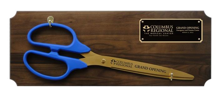 """36"""" CeremonialRibbon Cutting ScissorsWalnut Plaque"""