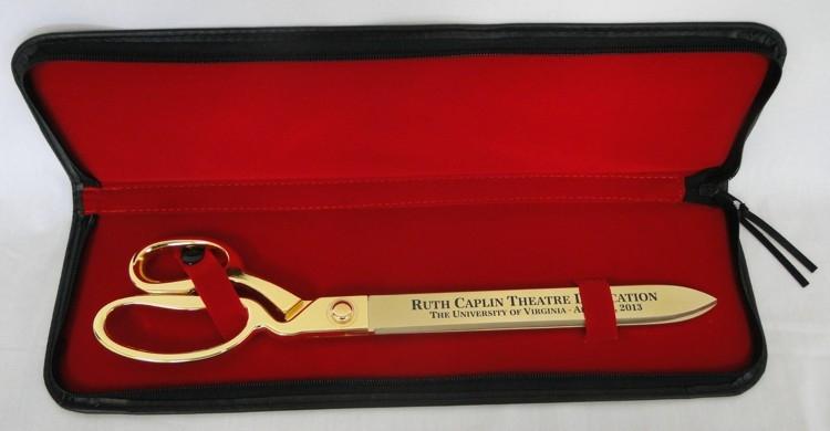 "Ceremonial Ribbon Cutting Scissors Presentation Case - 15"" Gold Scissors"