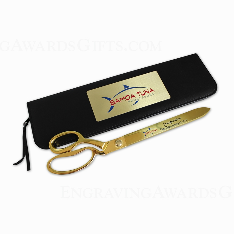 "15"" Gold Scissors Presentation Case with Personalization"