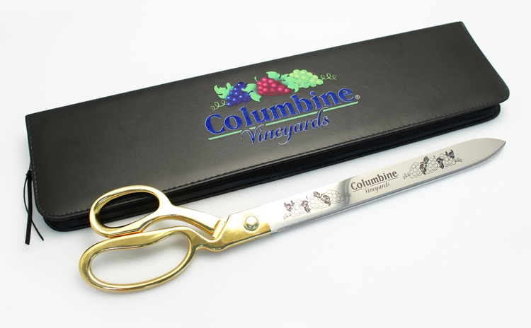 """20"""" Gold Ceremonial Scissors with Full Color Direct Printed Presentation Case"""