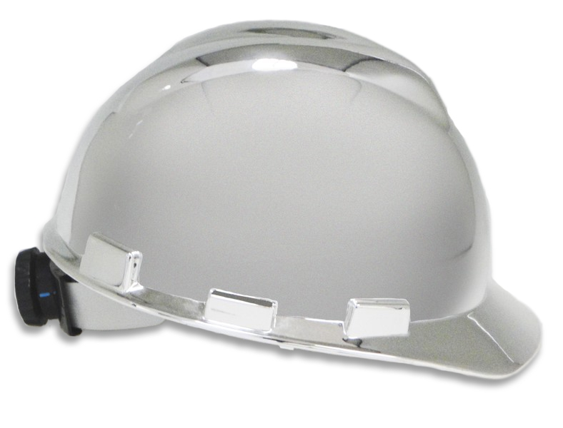 Chrome Ceremonial Hard Hat, right side view