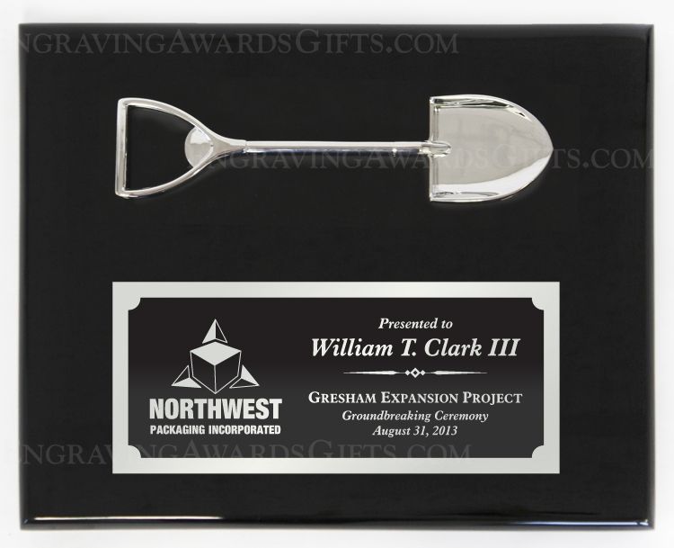 """10"""" x 8"""" Horizontal Ceremonial Shovel Award Plaque"""