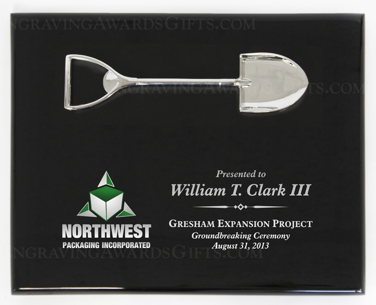 """10"""" x 8"""" Piano Finish Ceremonial Shovel Plaque with Direct Full Color Printing"""