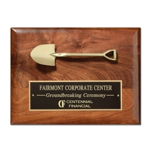 """12"""" x 9"""" Walnut Shovel Plaque with Mini Shovel and Plate"""