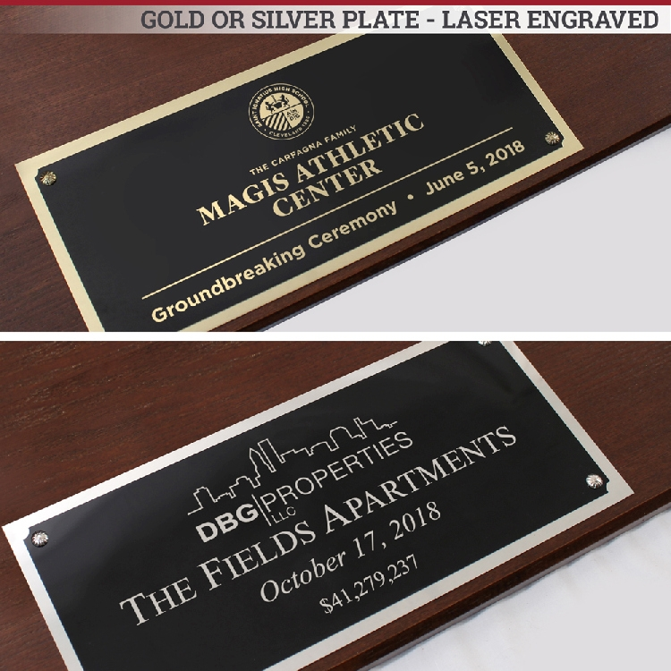 "42"" x 16"" Full Size Ceremonial Shovel Plaques - Laser Engraved Plates"