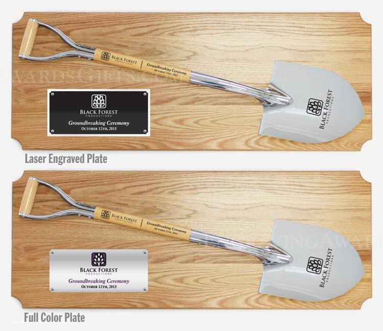 "42"" x 16"" Full Size Ceremonial Shovel Oak Plaque - Chrome"