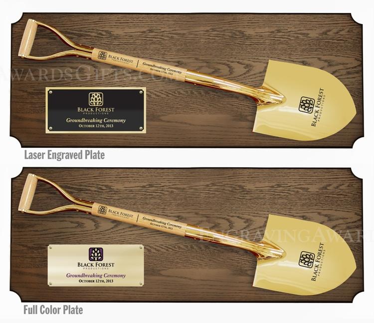 "42"" x 16"" Full Size Ceremonial Shovel Plaques, Gold Shovels"
