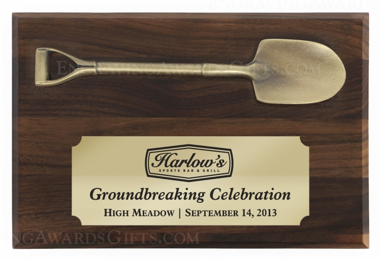 "6"" x 4"" Walnut Ceremonial Shovel Plaque - Antique Gold"