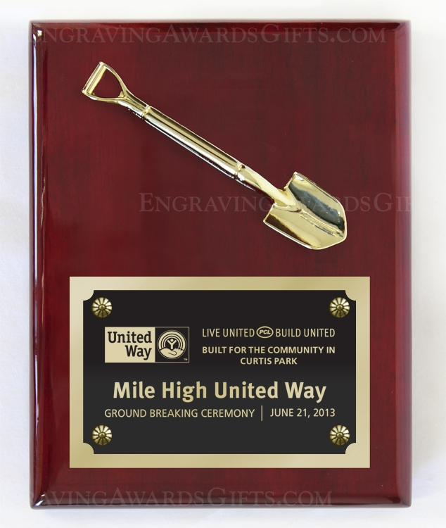 """7"""" x 9"""" Rosewood Piano Finish Ceremonial Shovel Plaque with Plate"""