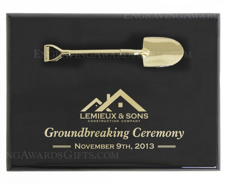 "8"" x 6"" Black Piano Finish Ceremonial Shovel Plaque, Bright Gold"