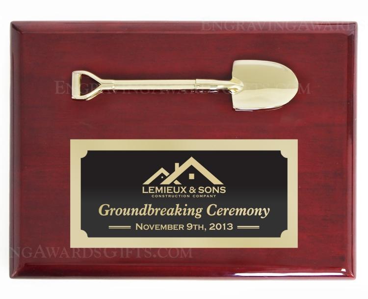 "8"" x 6"" Rosewood Piano Finish Ceremonial Shovel Plaque, Bright Gold"