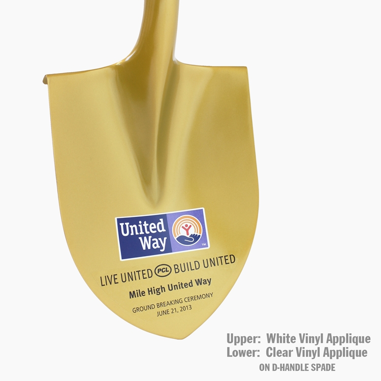 Painted D-Handle Gold Spade with Vinyl Applique