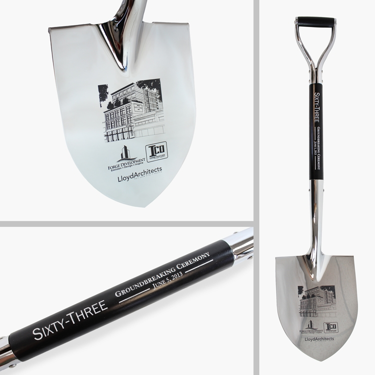Specialty Style Spade Chrome Plated Ceremonial Shovel - Personalized
