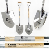 Full Size Chrome/Silver Ceremonial Groundbreaking Shovels