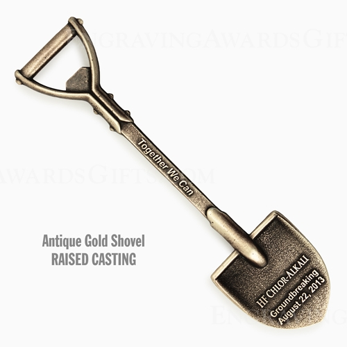 "6-3/4"" Custom Cast Ceremonial Shovels,  Antique Gold"