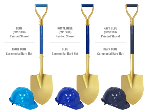 Gold Painted Shovels with Painted Shafts