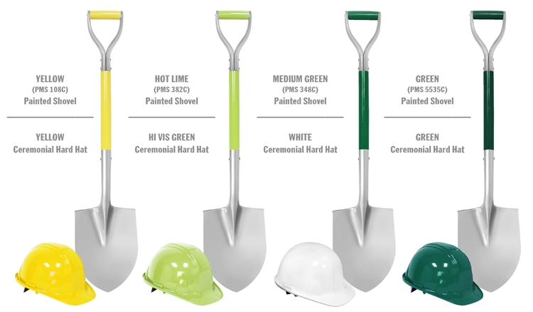 Silver Painted Shovels with Painted Shafts