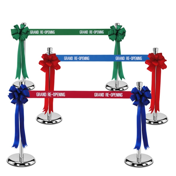 Metal Stanchion with Grand Re-Opening Ribbon