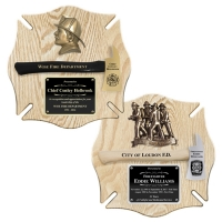 Engraved Oak Maltese Cross Firefighter Axe Award Plaques