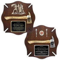 Engraved Walnut Maltese Cross Firefighter Axe Award Plaques