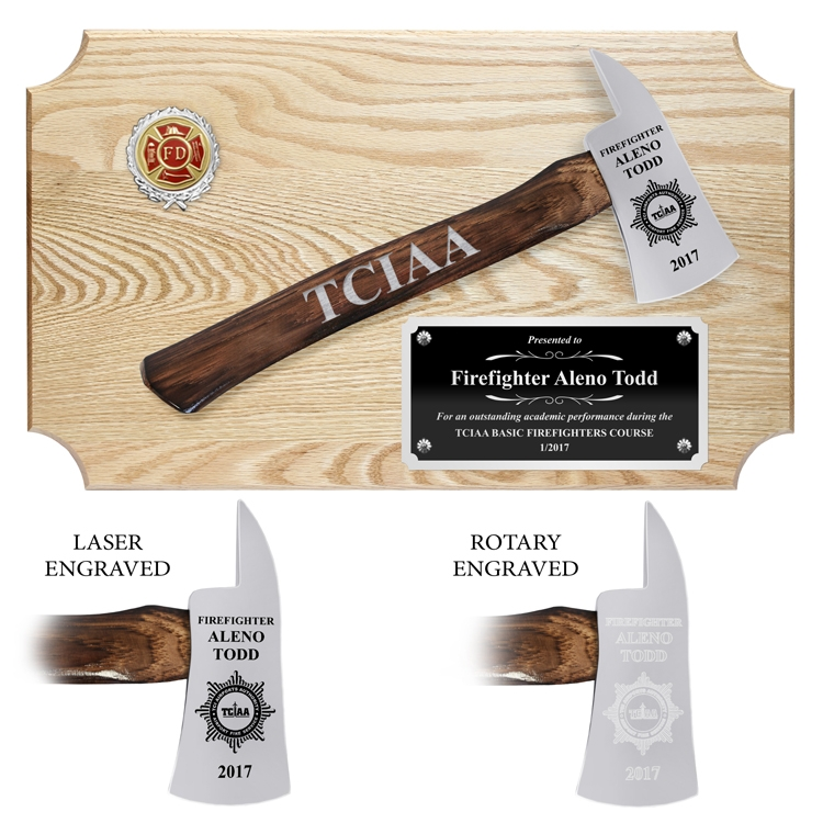 Small Chrome Axe Oak Plaques w/ Plate, Choice of Handle Color