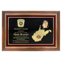 "Custom 24"" X 17 1/2"" Genuine Walnut Frame State Shape Plaque Award"