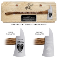 Large Engraved Oak Firefighter Chrome Axe Award Plaque, Choice of Handle Color