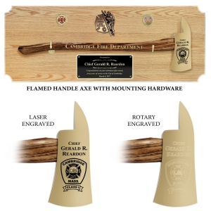 Large Engraved Oak Firefighter Gold Plated Axe Award Plaques, Choice of Handle Color