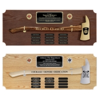 Large Engraved Perpetual Firefighter Axe Award Plaques