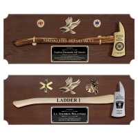 Large Engraved Walnut Firefighter Axe Award Plaques