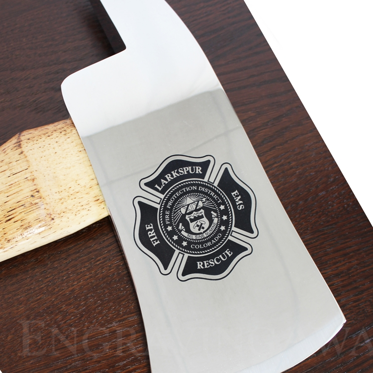 Large Engraved Walnut Firefighter Chrome Axe Award Plaque