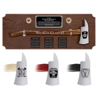 Large Walnut Perpetual Chrome Axe Award Plaques, Choice of Handle Color