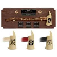 Large Oak Perpetual Brass Axe Award Plaques, Choice of Handle Color