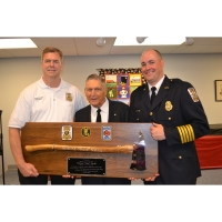 Axe Plaque Ceremony - Large Engraved Walnut Firefighter Chrome Axe Award Plaque