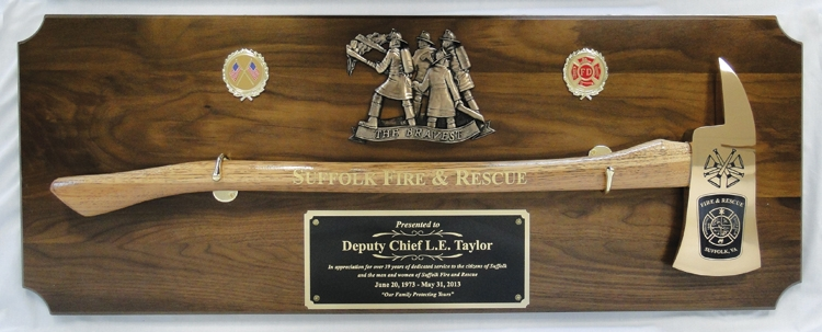 Large Engraved Walnut Firefighter Brass Axe Award Plaque