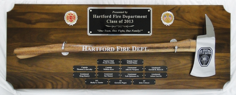 Large Engraved Chrome Firefighter Axe Walnut Perpetual Plaque