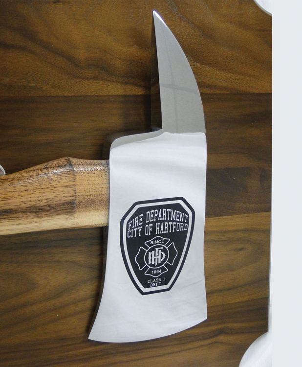 Large Engraved Chrome Firefighter Axe Walnut Perpetual Plaque,  Close Up