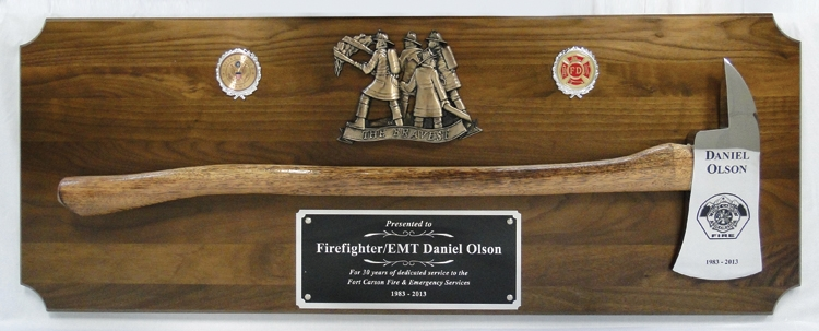 Large Engraved Chrome Firefighter Axe Walnut Award Plaque