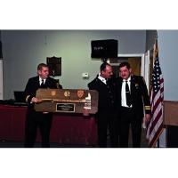 "36"" Brass Axe Walnut Award Plaque with Hangers"