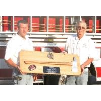 """Ceremonial Firefighter 36"""" Brass Axe Oak Plaque Award"""