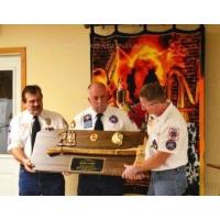 """Ceremonial Firefighter 36"""" Brass Axe Walnut Plaque Award"""